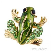 Cute  Frog  Brooch Pin  Enamel  CZ Rhinestone Gold Plated  Unisex  Bridal Party  Jewelry Costume