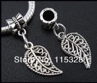Free Shipping 370pcs Tibetan Silver Fallen Leaves Dangle Charm Bead Fit European Bracelet 18.5x10.5mm For Jewelry  Making