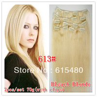 Hot Sale 28 inch 7PCS/set 120G Clip on/in 100% Remy Real human hair extensions 613# clip in hair INDIAN HAIR
