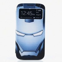 New Iron Man Superman Pattern PU Leather Case for Samsung Galaxy S4 S IV i9500 ,View window cover for galaxy s4 9500