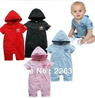Prom baby boys romper jumpsuits with hat baby's clothing wear rompers pink blue size 1-4 year 1pcs set free shipping
