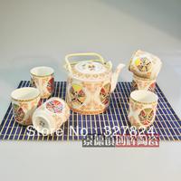 free shipping high quality 7pcs bone china tea set kung fu tea gift  cheap  beijing opera mask porcelain tea set  wedding gift
