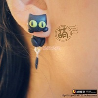 Ear ! cat polymer clay stud earring needles anti-allergic