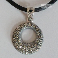 Free shipping Fashion 925 Sterling silver jewelry Thai silver Round Pendant  Black rope Necklace