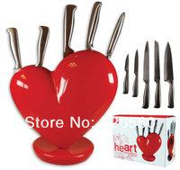 Free shipping 1Set Heart Knife Set /  Broken Heart Knife Block / Heart Knife Holder