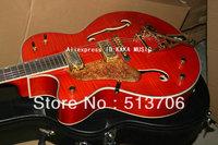 Left Hand Orange Custom 6120 Classic Falcon Jazz Guitar bigsby tremolo tailpiece Free Shipping