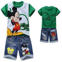 New baby boys cotton printed cartoon green mickey clothes set summer childrens casual wear suit kids t-shirt + denim short suit