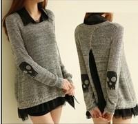 2013 spring skull applique twinset sweater chiffon one-piece dress women's sweater