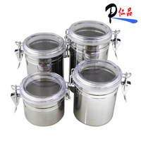 Solid color stainless steel canister piece set coffee cans storage tank tea caddy milk powder sealed cans set