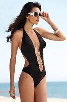 Free shippingSteel ring lace deep v-piece swimsuit sexy bikini beach swimwear Deep v black bikini