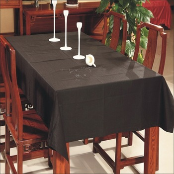 Customize rectangle table home coffee table waterproof dining table cloth black linen fabric tablecloth