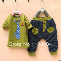 Free shipping, children wear fake Tie Set spring summer autumn clothes pants children full set(yu301300102)