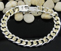 fashion 925 Silver in Gold plated men's bracelet