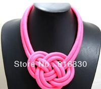 2013 NEW Arrival Free Shipping Candy Colored Neon Statement Choker Chunky Necklace Braided Wave Design Jewelry Christmas Gift