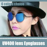 wholesale oscar star sunglasses blue mirrored classic round frame sunglasses european eyeglass frames glasses metal ladies uv