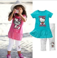 Children's clothing wholesale candy color foreign trade children's clothing children suit cat images of 5 PCS/lot free shipping