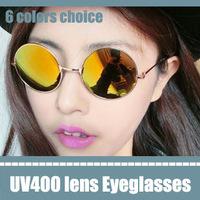 circle sunglasses vintage male eyeglasses frames preppy style glasses orange lens mirror reflecting metal frame sunglasses UV400