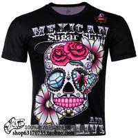 2013 new hot sale o-neck short sleeve 3D skull flower prints plus size S-6XL novelty T-shirt men's clothing  TCQ057