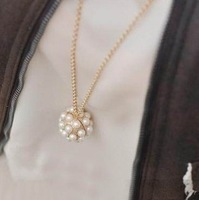 Fashion gentlewomen long design exquisite vintage three-dimensional pearl ball necklace female 28g
