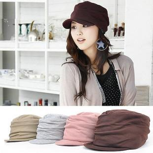 Hat female winter noble elegant autumn and winter pleated millinery bucket hat knitted hat cadet cap(China (Mainland))