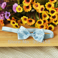 Excellent adjustable pets silk bow tie,blue Polka Dot, dog tie,Sweet Bow Tie Necktie,Neck Collar,Cute gift
