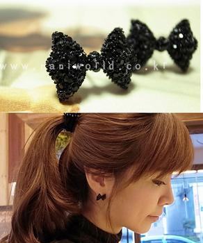 Fashion Korean Jewelry Simple Black Bowknot Ear Stud Earrings Free Shipping SA014