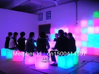 HOT SALE!!!30*30cm Night club outdoor party RGB LED cube/LED chair/LED bar table /LED RGB CUBE CHAIR