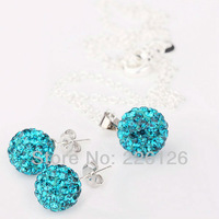 Free shipping!!Hot Wholesale 100% New Fashion 925 Sterling Silver & Rhinestone Necklace and Earrings Set XS04