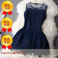 Zaricha 2013 spring water cutout lace sleeveless one-piece dress 0115