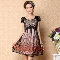 2013 women's noble vintage embroidered short-sleeve slim lace one-piece dress plus size