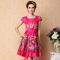 2013 spring and summer fashion short-sleeve slim vintage embroidered organza plus size one-piece dress