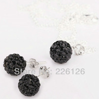 Free shipping!!Hot Wholesale 100% New Fashion 925 Sterling Silver & Rhinestone Necklace and Earrings Set XS08