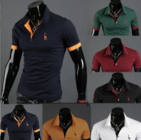 HOT!Free Shipping 2013 New Men's Po T-Shirts Casual Slim Fit Stylish Short-Sleeve Shirt Cotton T-shirt Size:M-XXL