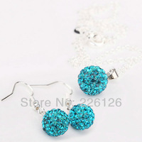 Free shipping!!Hot Wholesale 100% New Fashion 925 Sterling Silver & Rhinestone Necklace and HOOK Earrings Set XS12