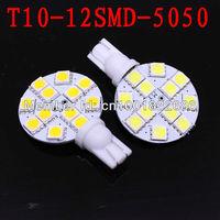 Free shipping 10Pcs T10 194 921 W5W 12 5050 SMD LED RV Landscaping Light car led side Lamp Bulb DC12V Warm White
