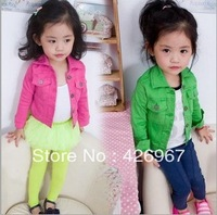 Free Shipping Hot 5pcs/lot Kids girls candy color jackets outerwear Children casual short cotton coat Jeans clothes wholesale