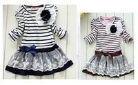 5pcs baby girls striped white navy brown dress girl's long sleeve flower princess stripe dresses childrens clothes