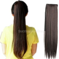 Long Lady Girl Straight Ponytail Wigs Hair Hairpiece Extension Dark Brown NI5L