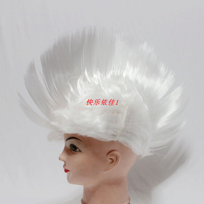 Cosplay wig dance party wig white fans wig cos cock head silver wig zihangchepeng wig(China (Mainland))