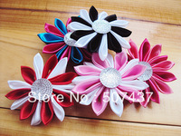 "High quality handmade colorful 2.2"" satin fabric flower for kids headband photograph accessories baby hairbands free shipping"