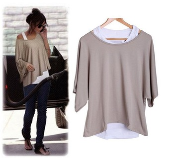 New Lady Women's Loose Tops Batwing T-Shirt Casual Blouse + Tank Vest 4 Colors