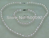 Genuine 7-8mm cultured freshwater  pearl  Sets necklace & bracelet free shipping