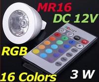 Factory  Wholesale 100pcs/lot DC12V MR16 16 Colors Change RGB 3W  LED Light  85-265V Spotlight include with remote
