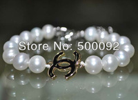 Fine  7.5-8mm  near round white pearl bracelet free shipping