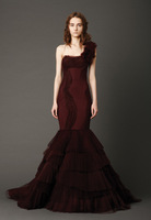 Dark Red Organza One-Shoulder Bridal Wedding Dresses Wedding Attire Dress Pageant  Dress Custom Size 2-6-10 12-20 JLW529128