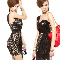 118777 Ladies Princess Noble Lace Chiffon Patchwork Asymmetrical Sheath Sexy Club One-piece Dress 031