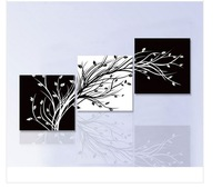 3 Piece Wall Art Modern Abstract Large cheap Floral Black And White tree of life Oil Painting On Canvas For home decoration