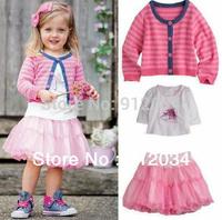 Retail girls spring clothes for 2014 stripe jacket+tshirt+skirt 3pcs set of clothes for girls children skirt set fashion suit