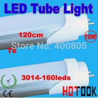 Wholesale LED Tube Light G13 T8 18W 1200mm 120CM 3014 160LED Lamp 85V~265V CE RoHS Warranty 2 years x 16 PCS -- ship via express
