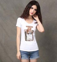 New Fashion 2013 Ladies' Summer Top Tee Printed Perfume Women White T-Shirt Short Sleeve Rhinestone Shirts Plus Size